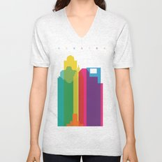Shapes of Houston. Accurate to scale Unisex V-Neck