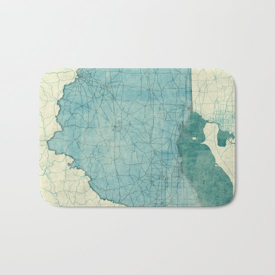 Ohio State Map Blue Vintage Bath Mat