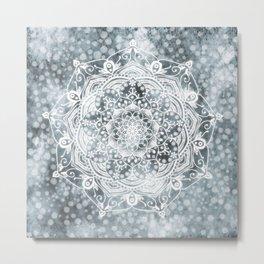 'Mid Winter Dream' Glowing White Grey Mandala Metal Print