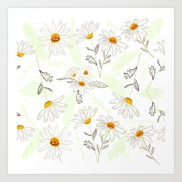 Spring time colorful daisies pattern Art Print