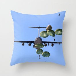 parachute parachutist Throw Pillow