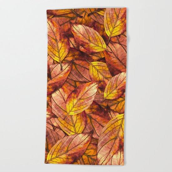 Autumn Leaves 03 Beach Towel