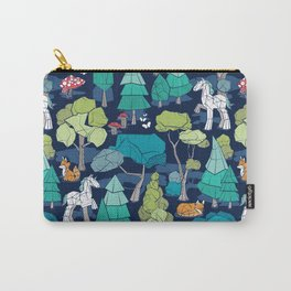 Geometric whimsical wonderland // navy blue background green forest with unicorns foxes gnomes and mushrooms Carry-All Pouch