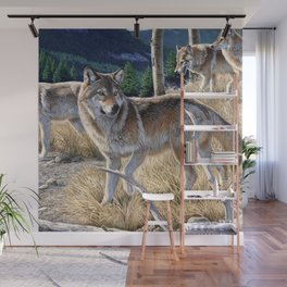 Wolf in winter forest Wall Mural