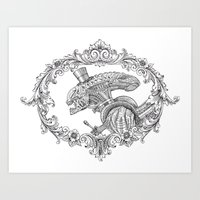 xenomorph Art Prints featuring Fancy Xenomorph by Adam Tupper