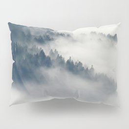 Mountain Fog and Forest Photo Pillow Sham