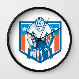 American Cyclist Riding Bicycle Cycling Shield Retro Wall Clock