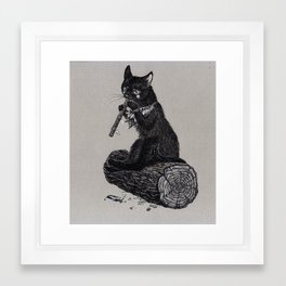 Folk musician cat Framed Art Print