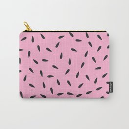 Watermelon Seeds on Pastel Pink Background Carry-All Pouch