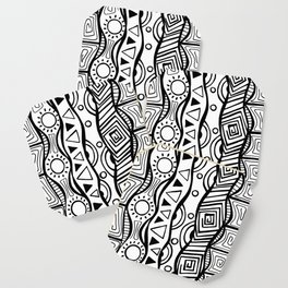 Four Waves - Freestyle Tribal Doodle Design Coaster