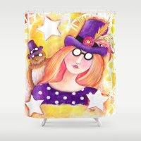 roald dahl Shower Curtains featuring Steampunk Girl by Judy Skowron