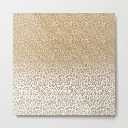 Trendy Gold Glitter and Leopard Print Gradient Design Metal Print