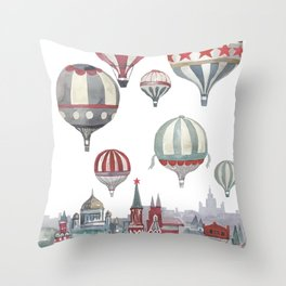 Air balloons and Moscow red squere Throw Pillow