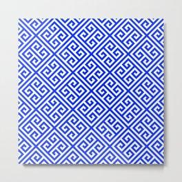blue white pattern, Greek Key pattern -  Greek fret design Metal Print