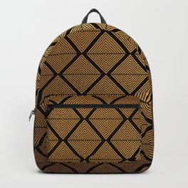 Contemporary Gold and Black Diamond In Diamond Geometric Pattern Backpack