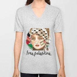 Free Palestine in watercolor Unisex V-Neck