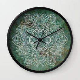 Silver White Floral Mandala on Green Textured Background Wall Clock