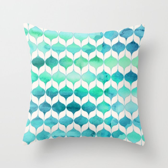 Ocean Rhythms and Mermaid's Tails Throw Pillow