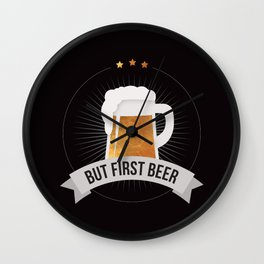 But First Beer Funny Quote Retro Men Gold Black Pub Bar Drink Cheers Wall Clock