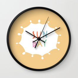 Sunday in Yellow Wall Clock