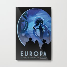 NASA Retro Space Travel Poster #4 - Europa Metal Print