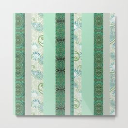 French Stripe Green/Grey Metal Print