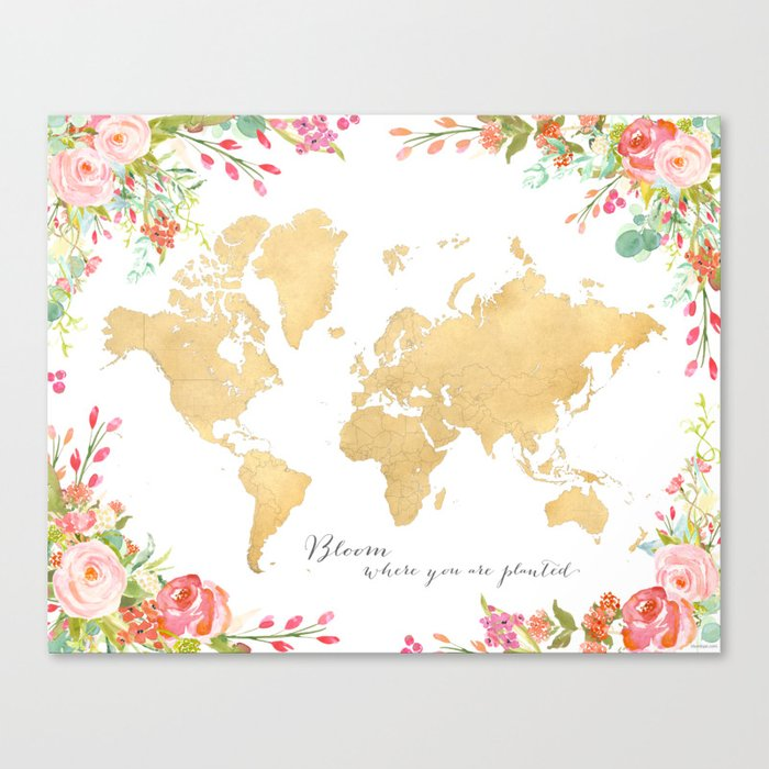Bloom Where You Are Planted Gold Floral World Map Canvas Print By