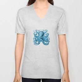 Octopus1 (Blue, Square) Unisex V-Neck