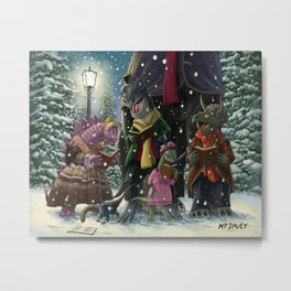 victorian dinosaur carol singers out on christmas eve Metal Print