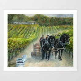 Grape Harvest Teamwork in the Vineyard Art Print