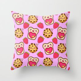 Cute funny sweet adorable happy Kawaii toast with raspberry jam and butter, chocolate chip cookies, red ripe summer strawberries cartoon fantasy pastel pink pattern design Throw Pillow