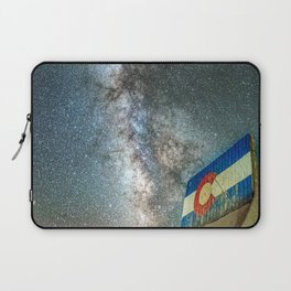 Colorado Living // Milky Way Galaxy Long Exposure Photograph Incredible Starry Night and State Flag Laptop Sleeve