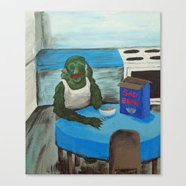 The Creature from the Black Lagoon eating Bran sadly Canvas Print