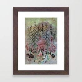 A little house in the woods Framed Art Print