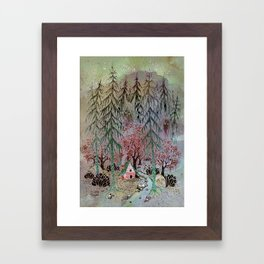 A little house in the woods Framed Art Print