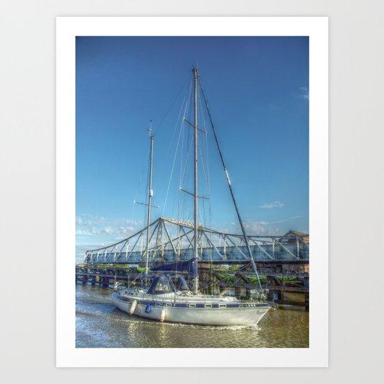 Reedham Swing Bridge and Jo-lene Art Print