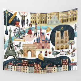 Paris map Wall Tapestry