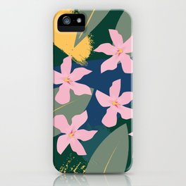 Pink Tropical Flowers and Leaves iPhone Case