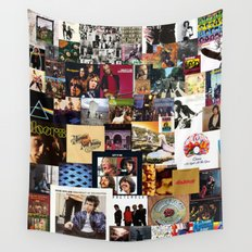 Classic Rock And Roll Albums Collage Wall Tapestry