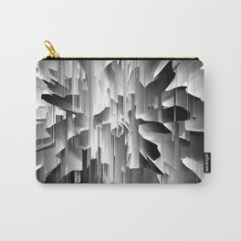 Flowers Exploding with Glitch in Black and White Carry-All Pouch