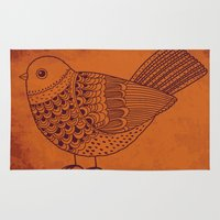 pigeon Area & Throw Rugs featuring Retro Pigeon by Texnotropio
