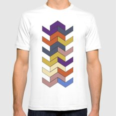 Geometric Chevrons Mens Fitted Tee SMALL White