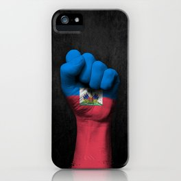 Haitian Flag on a Raised Clenched Fist iPhone Case
