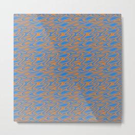 Blue and Orange Swirl Pattern Metal Print