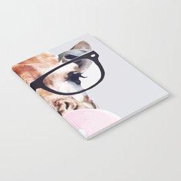 Giraffe wearing glasses blowing bubble gum Notebook