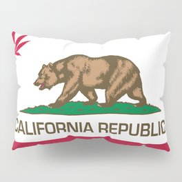 California Republic state flag with red Cannabis leaf Pillow Sham