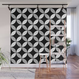 Mid Century Modern Geometric Flower Pattern Black and White 2 Wall Mural