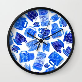 Blue Teacups and Mugs Wall Clock