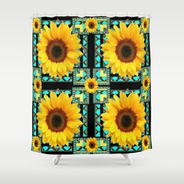 WESTERN STYLE  BLACK COLOR YELLOW SUNFLOWERS ART Shower Curtain