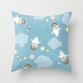 Dreaming in space Throw Pillow